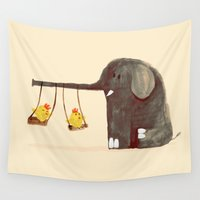 elephant Wall Tapestries featuring Elephant Swing by Picomodi