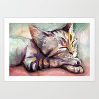 kitten Art Prints featuring Kitten by Olechka