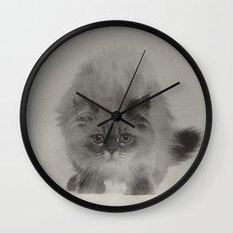 Cat In The Fog B&W Wall Clock