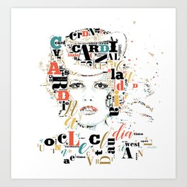 Typographic image Claudia Cardinale once upon a time in the west color 2 Art Print