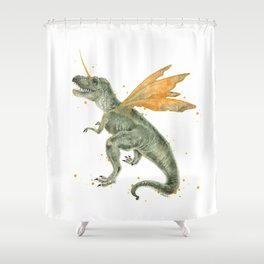 T-Rex with Fairy Wings Shower Curtain