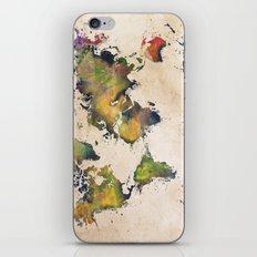 World Map green splash iPhone Skin