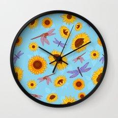Sunflowers & Dragonflies Wall Clock