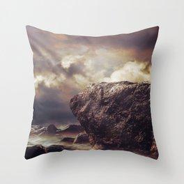 Rock in the ocean Version 2 Throw Pillow