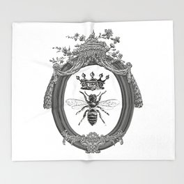 Queen Bee   Vintage Bee with Crown   Black, White and Grey   Throw Blanket