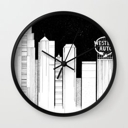 Kansas City Skyline at Night Wall Clock