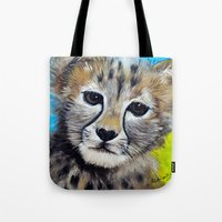 cheetah Tote Bags featuring Cheetah by A Calcines