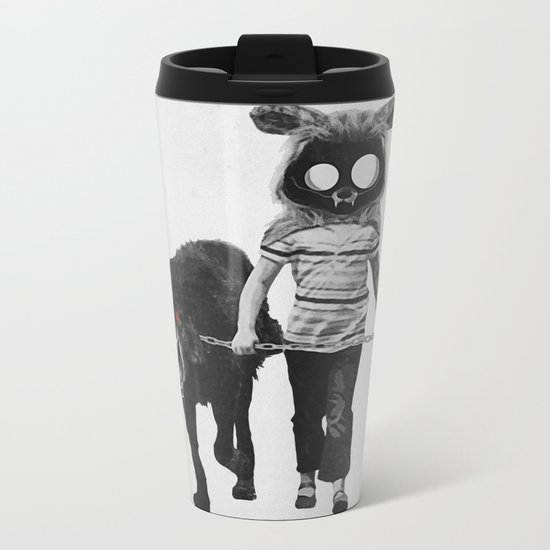 Out for a walk (black and white) Metal Travel Mug