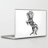 pentagram Laptop & iPad Skins featuring Pentagram Tribal Horse by Arixona
