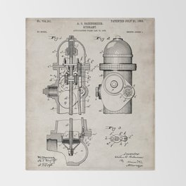 Fire Fighter Patent - Fire Hydrant Art - Antique Throw Blanket