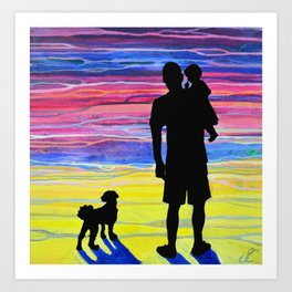Father Son and Max Art Print