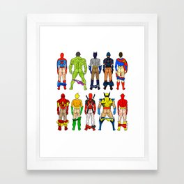 Superhero Butts Framed Art Print