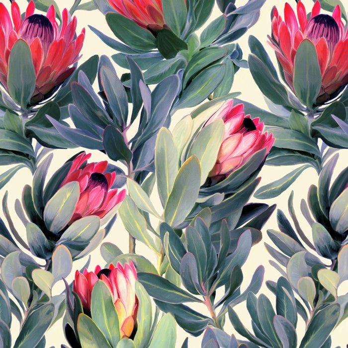 Painted Protea Pattern Leggings