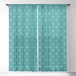 Magic Mint Green on Teal Green Snowflakes Sheer Curtain