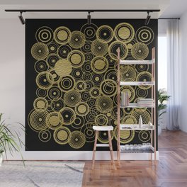 Circles Galore in Gold Wall Mural