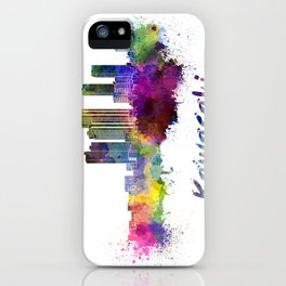 Kawasaki skyline in watercolor iPhone Case