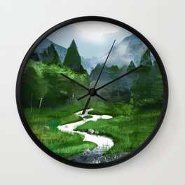 Forest River Illustration  Wall Clock