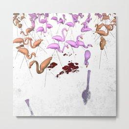 Plastic Flamingos with Mushrooms on White Metal Print