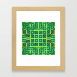 Retro Techno Glitch Quilt Green Print Framed Art Print