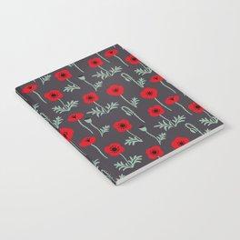 Red poppy flower pattern Notebook