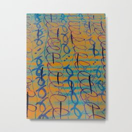 Gold and Blue Patterns Metal Print