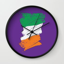 Distressed Irish Flag Ireland St Patricks Purple Wall Clock