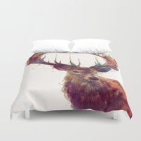 white Duvet Covers featuring Red Deer // Stag by Amy Hamilton