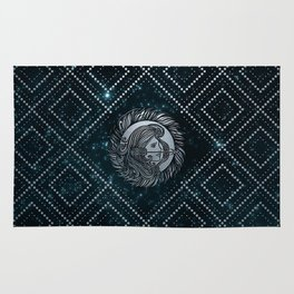 Sagittarius Zodiac Silver Embossed on the Star sky Rug