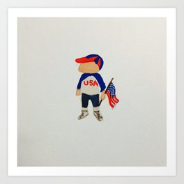 Toddlers Fourth of July Parade Watercolor Painting Art Print