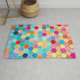 Patterned Honeycomb Patchwork in Jewel Colors Rug