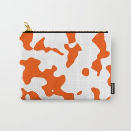 Large Spots - White and Dark Orange Carry-All Pouch