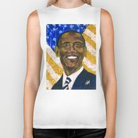 obama Biker Tanks featuring Obama by Stan Kwong