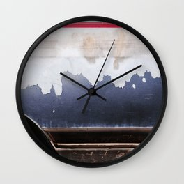 Peeling Paint In Red White Blue Wall Clock