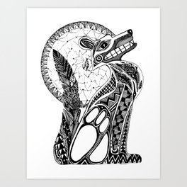 Doodle Abstract Coyote Art Print