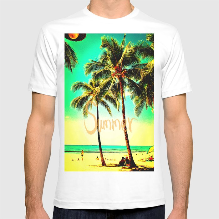 f56d28bbb2f Green Yellow Vintage Palm Tree with Hawaii Summer Sea Beach T-shirt ...