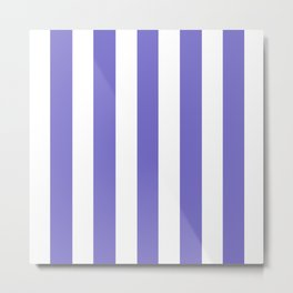 Violet-blue (Crayola) - solid color - white vertical lines pattern Metal Print