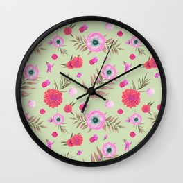Modern pink lavender watercolor geometric floral Wall Clock
