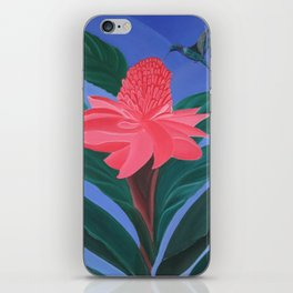 Ginger flower and humming bird iPhone Skin
