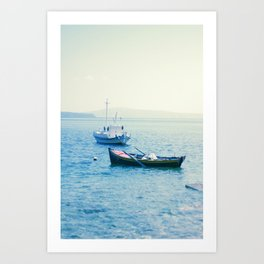 Santorini Boats Art Print