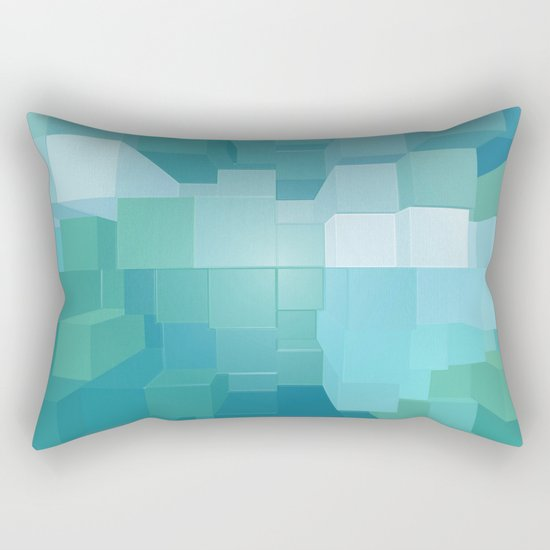 Blue and Green 3D Rectangular Pillow