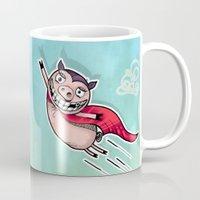 superhero Mugs featuring Superhero by Aleksandra Jevtovic