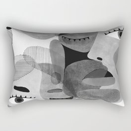Abstract woman face with eyes in B&W illustration Rectangular Pillow