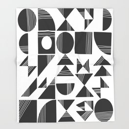 Shape and Line in Black and White Throw Blanket