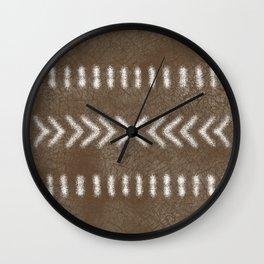 Minimalist Tribal Design in brown Wall Clock