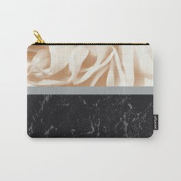 Cafe Au Lait Flower Meets Gray Black Marble #2 #decor #art #society6 Carry-All Pouch