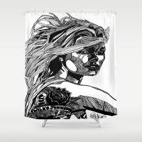 allyson johnson Shower Curtains featuring B&W Fashion Illustration - Wilko Johnson by Paul Nelson-Esch Art