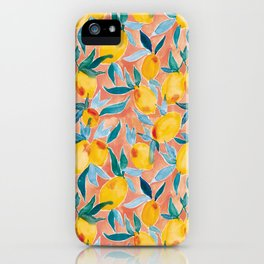 Lucky Lemons Watercolor Fruit Pattern in Peach and Yellow iPhone Case