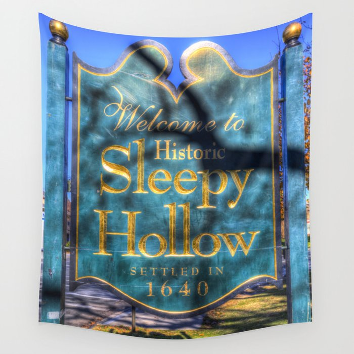 Sleepy Hollow Village Sign Wall Tapestry