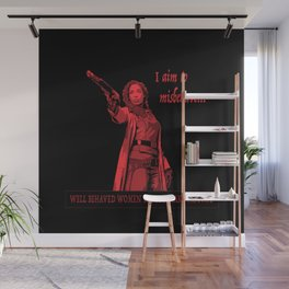 I Aim To Misbehave (Red) Wall Mural
