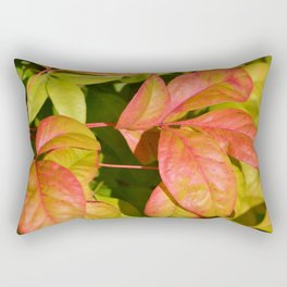 Summery Pink and Green Leaves Rectangular Pillow
